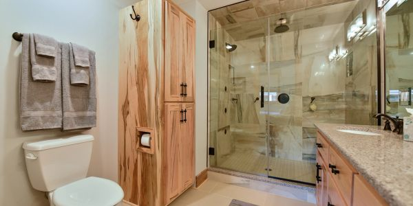 Custom built bathroom with huge shower.