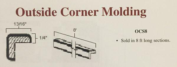 "White Shake Outside Corner Molding 96"" x 13/16 x 13/16 --1/4"" thick"