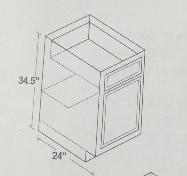Chadwood Oak Base cabinet 12w x 24d x 34.5h (Local Pickup Only)