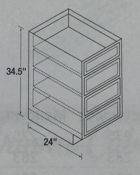 Chadwood Oak Drawer Base cabinet 24w x 24d x 34.5h (Local Pickup Only)