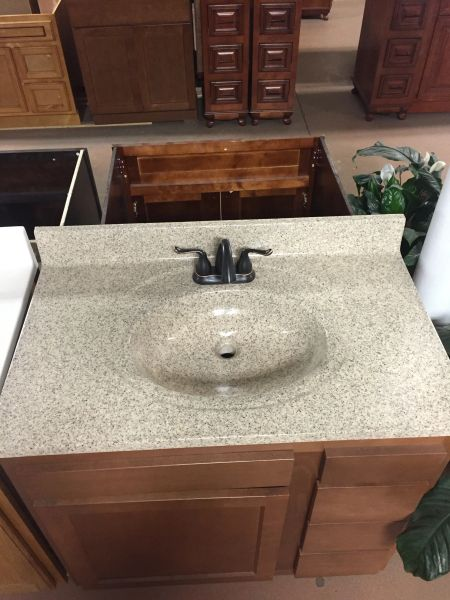 """Cultured Marble Vanity Top (Vanilla Spice) 22"""" x 43"""" three hole for 4"""" center faucet (local pickup only)."""