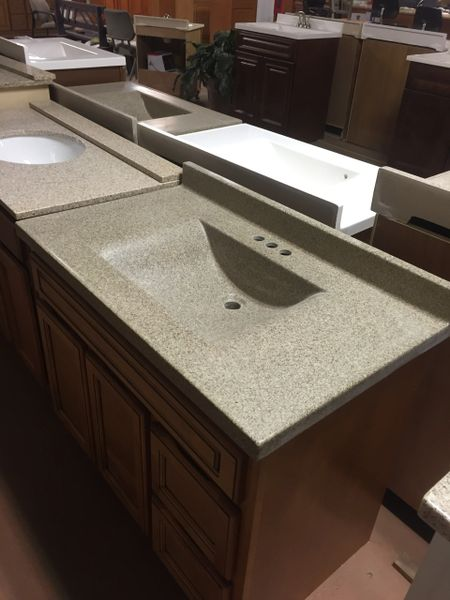 """Arstar Cultured Marble Vanity Top (Cappuccino) square bowl 22"""" x 25"""" three hole for 4"""" center faucet"""