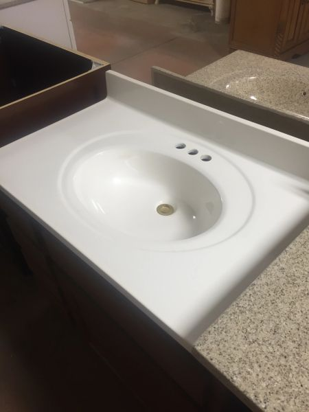 """Cultured Marble Vanity Top (White) 22"""" x 25"""" three hole for 4"""" center faucet (local pickup only)."""