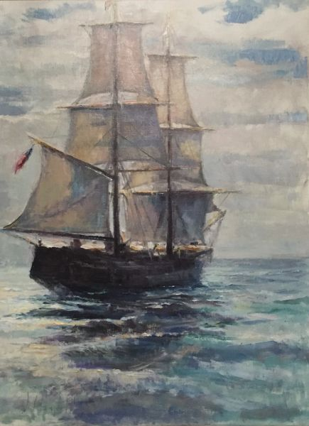 Oil Paintings by Wayne E Campbell (American Ship At Sea)