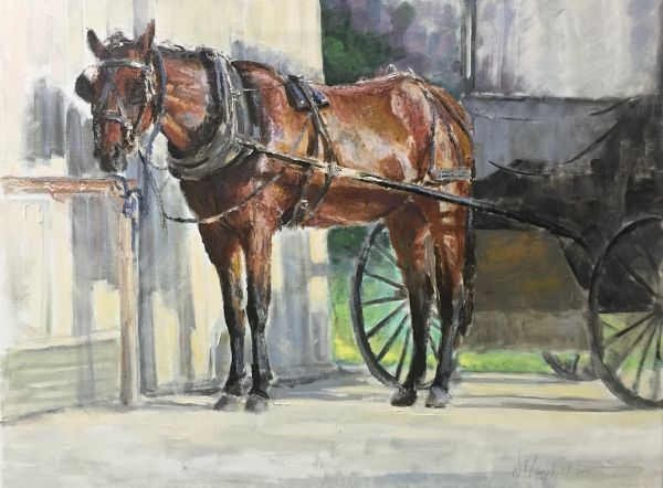 Oil Paintings by Wayne E Campbell (Amish Horse and Buggy) 14 x 18