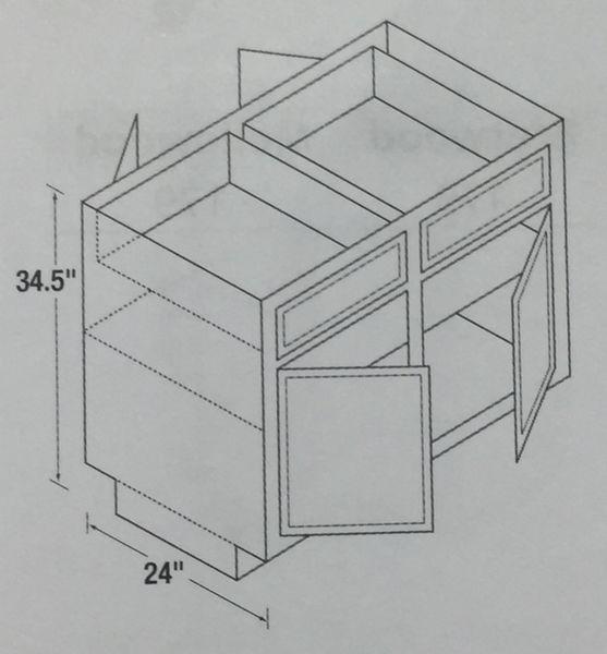 Warmwood Base Peninsula Corner cabinet 48w x 24d x 34.5h (Local Pickup Only)