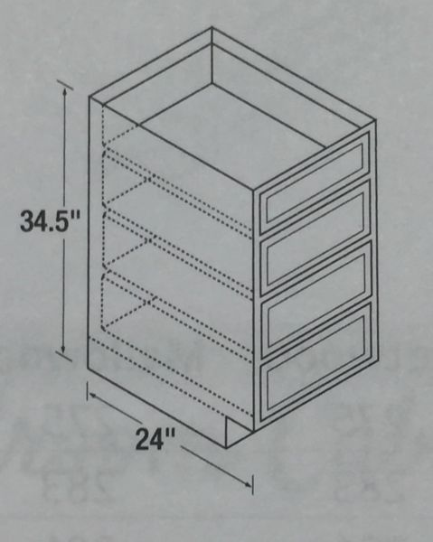 Warmwood Drawer Base cabinet 24w x 24d x 34.5h (local pickup only).