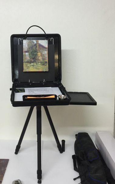 Artist Painting Safe Box Easel with Side Tray, Heavy Duty Rigid Base Plate and Tripod