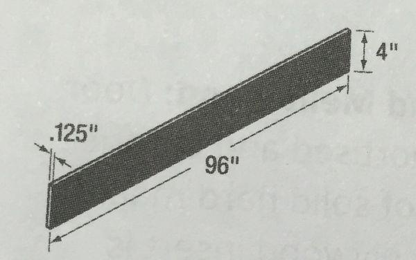 "black Toe kick 96""L x 1/8"" Th x 4"" high (local pickup only)."