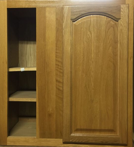 Light Oak Wall Blind Corner cabinet 27w x 12d x 42h (local pickup only).
