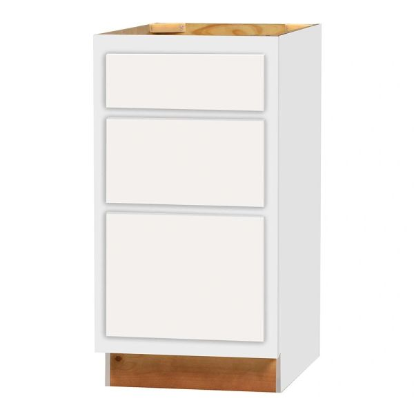 D White Shaker 3 Drawer Base cabinet 18w x 24d x 34.5h (Local Pickup Only)