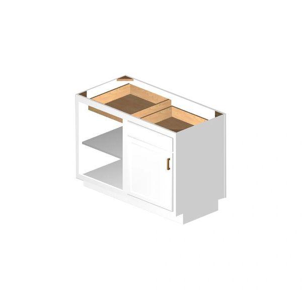 D White shaker Base Peninsula Corner cabinet 48w x 24d x 34.5h (Local Pickup Only)