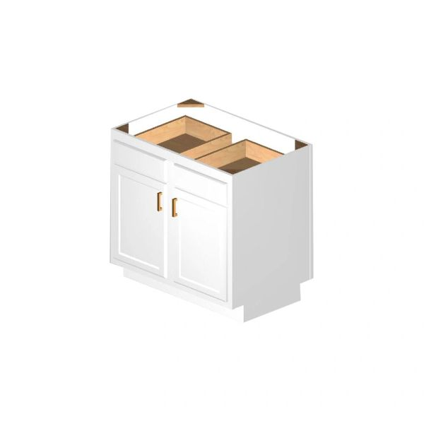 D White shaker Base Peninsula cabinet 36w x 24d x 34.5h (Local Pickup Only)