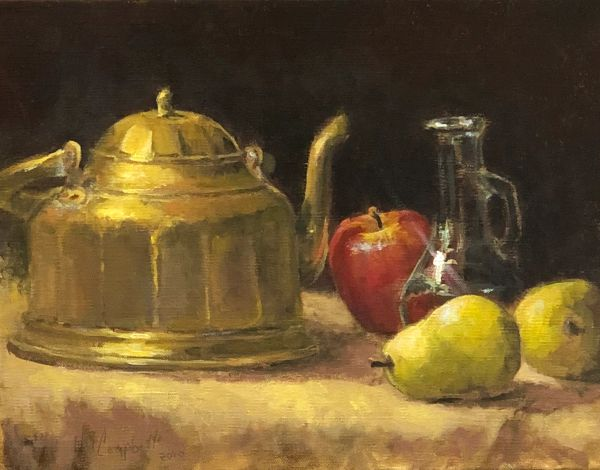 Oil Paintings by Wayne E Campbell (Brass ,Glass, Apple & Pears)12x16