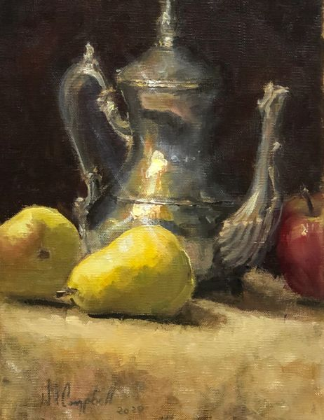 Oil Paintings by Wayne E Campbell (Silver, Apple & Pears)12x16