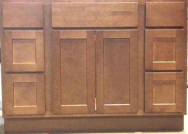 Shaker Salem Brown Vanity base cabinet V48w x 21d x 34.5h (Local Pickup Only)