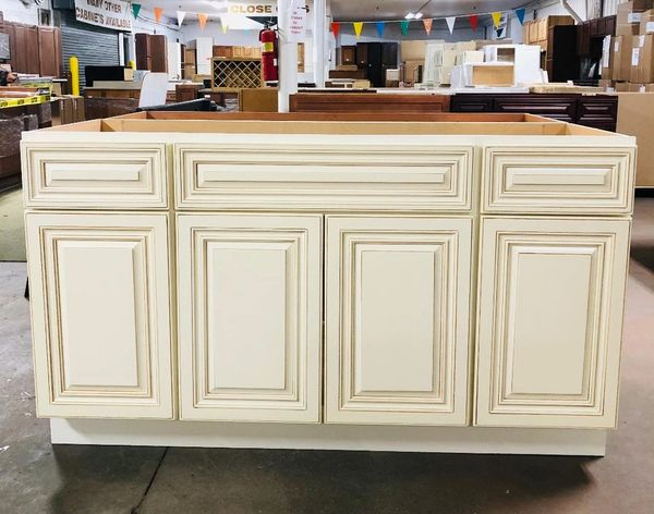 Wheaton White 60 Vanity Sink Base Cabinet with full overlay soft close dovetail drawers