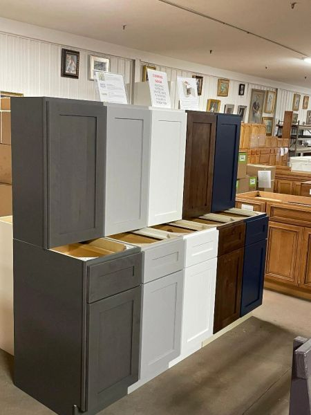 "New Higher end Cabinets starting with a Sink Base 36"" New Shaker White ,Light Gray, M Blue, Stained Dark gray or Dark Knotted Hickory."