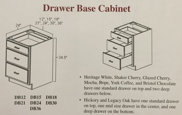 "BGH 15"" wide Drawer Base Cabinet 3 drawer (local pickup only)."