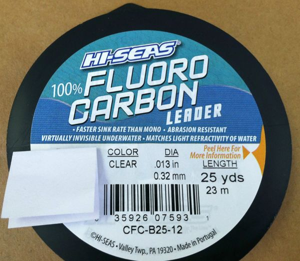 HI - SEAS 100% FLUOROCARBON FISHING LEADER LINE 25 YARDS