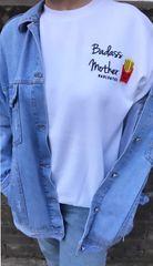 Badass Mother + Fries patch sweatshirt