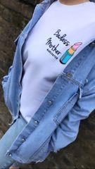 Badass Mother + Lipstick patch sweatshirt