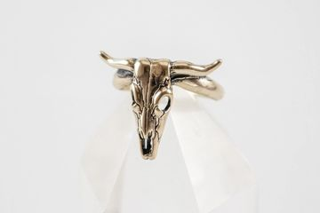 Sterling Silver cow bull skull ring made by lost wax casting at Silver Cloud Inc.