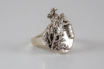 Lost wax casting of sterling silver roper ring by Silver Cloud Inc. Contract Casting.