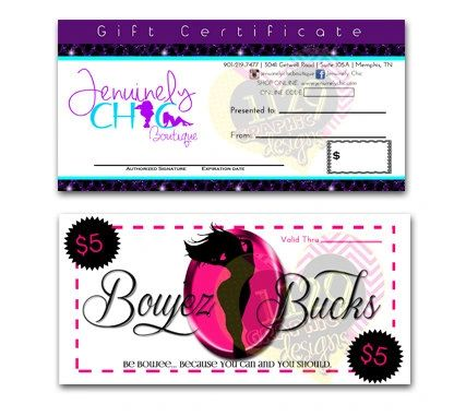 Gift Certificates/Custom Coupons