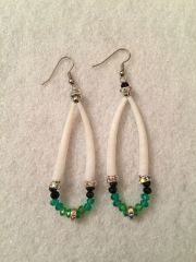 Earrings - Dentalium Green