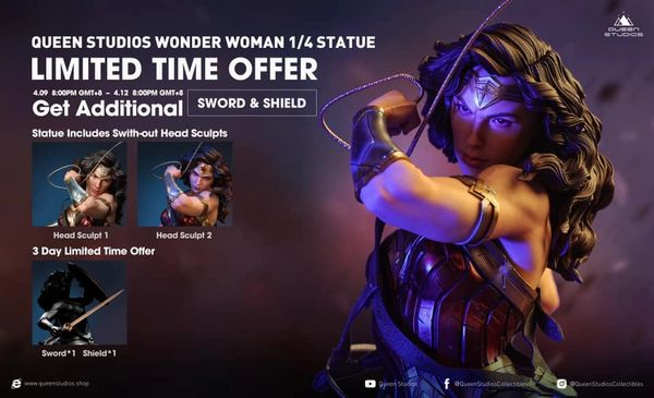 Queens Studio 1/4 Wonder woman w/ sword & shield (Pre Order) until 12th April 2021