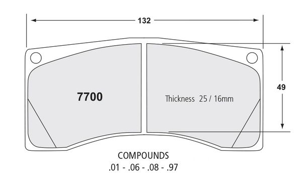 NEW PERFORMANCE FRICTION 7700.01.25.44 RACING PAD - 01 COMPOUND