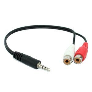 3.5mm Stereo Male To 2 RCA Female Audio Cable