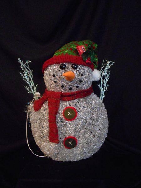 Acrylic Spun Snowman Led Lit Christmas
