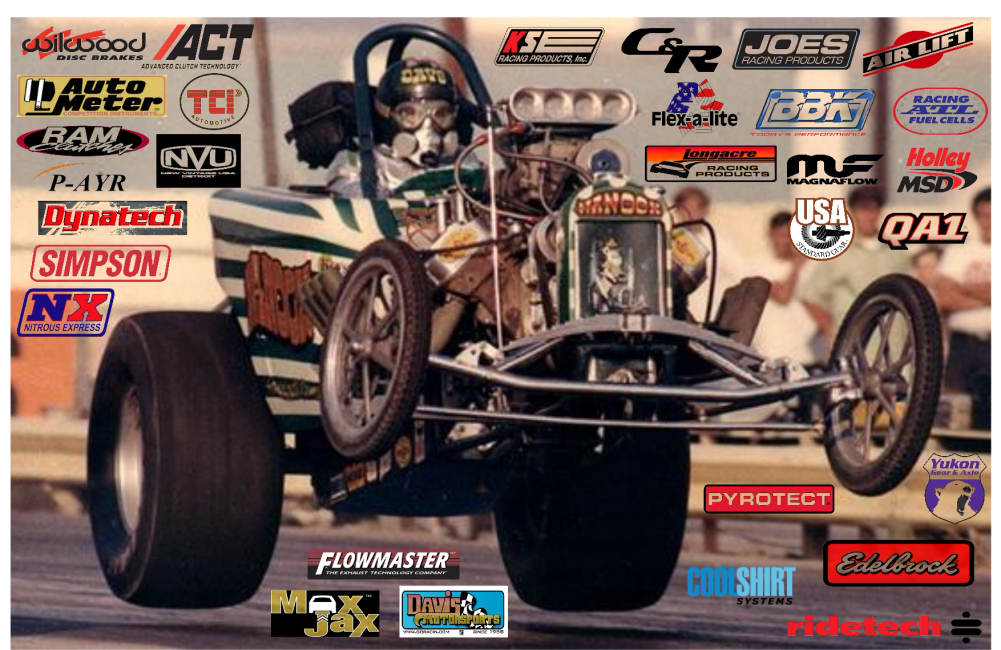 Altered dragster doing a 4 wheel wheelstand, background racing parts and equipment company logos