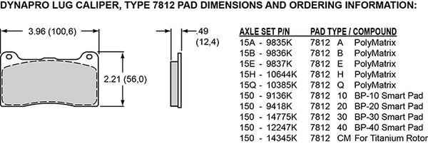 WILWOOD 150-9418K Pad Set BP-20 7812 DynaPro Dynalite-w//Bridge Bolt