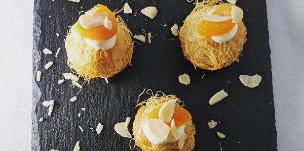 kadaif, almond and apricot with clotted cream