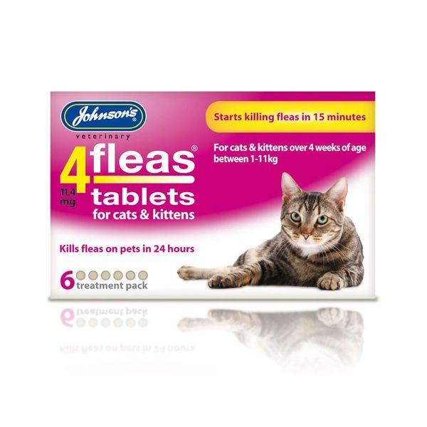 *ONLINE & INSTORE* Johnsons Veterinary 4 Fleas Tablets for Cats & Kittens