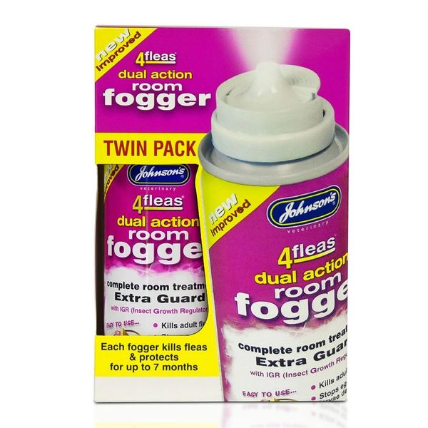 *ONLINE & INSTORE* Johnsons Veterinary 4 Fleas Dual Action Room Fogger (Twin Pack)