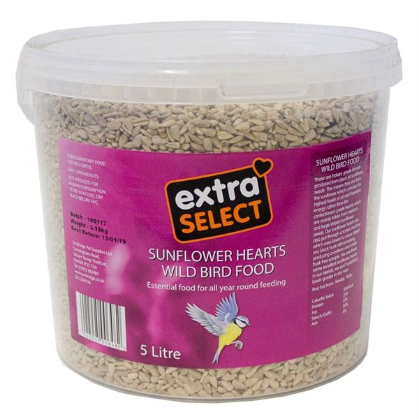 *ONLINE & INSTORE* Extra Select Sunflower Hearts Wild Bird Food Bucket 5 Litre