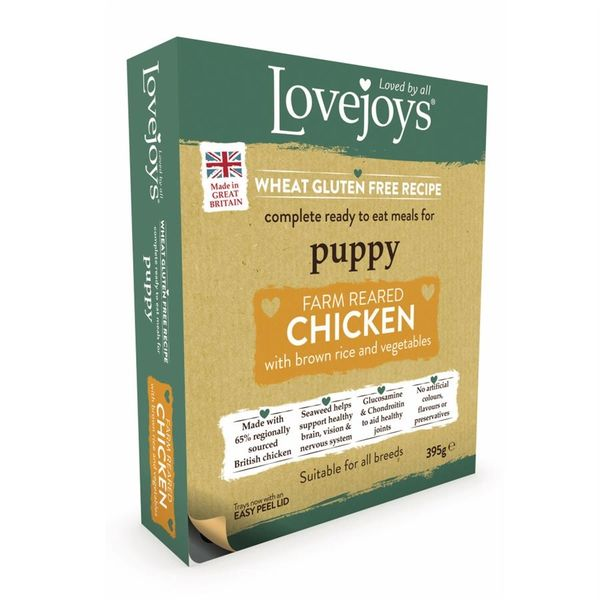 {LIB}*ONLINE ONLY* Lovejoys Puppy Chicken Tray (10 x 395g)