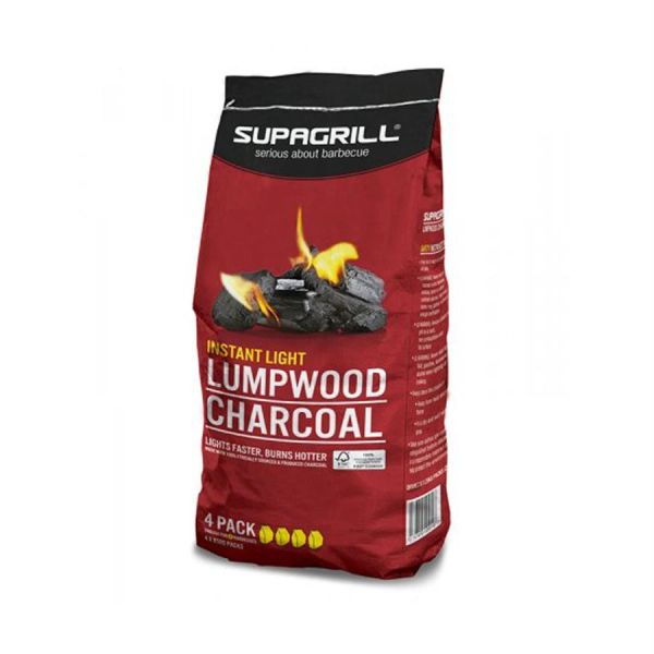 *ONLINE ONLY* Supagrill Instant Light Lumpwood Charcoal (4 Pack)