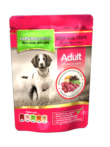 {LIB}*ONLINE & INSTORE* Natures Menu Adult Beef with Tripe Pouches