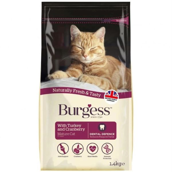 *ONLINE ONLY* Burgess Mature Cat with Turkey & Cranberry (4 x 1.4kg)