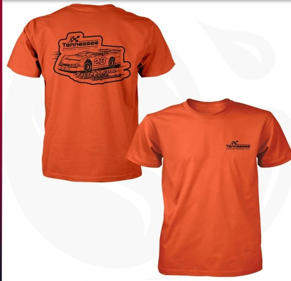 Orange and black Late model