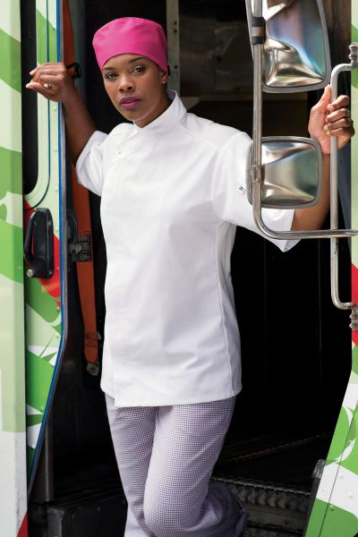 10 Knot Button 0428 Free Shipping Black or White XS-3XL Calypso Chef Coat