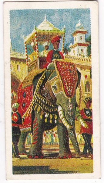 Trade Card Brooke Bond Transport Through the Ages No 01 Elephant