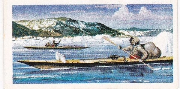 Trade Card Brooke Bond Transport Through the Ages No 09 Kayak