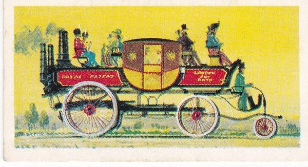 Trade Card Brooke Bond Transport Through the Ages No 16 Steam Coach