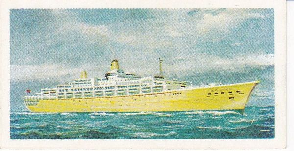 Trade Card Brooke Bond Transport Through the Ages No 26 Modern Ocean Liner
